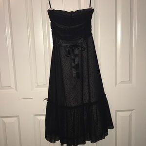 BCBG black lace/blush strapless dress